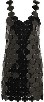 Paco Rabanne Embellished Metallic Mini Dress - Black