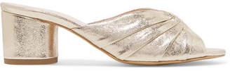 Le Petit Trou - Stephanie Metallic Textured-leather Mules - Gold