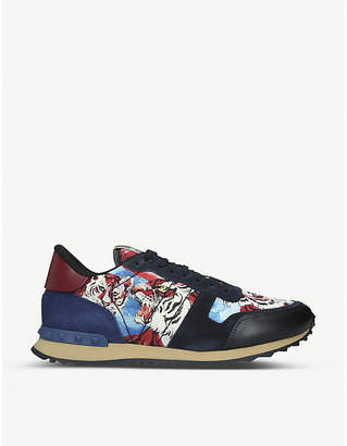 Rockrunner tiger-print leather trainers
