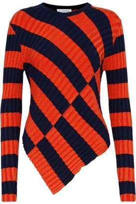 Altuzarra Mullins Asymmetric Striped Ribbed-Knit Sweater