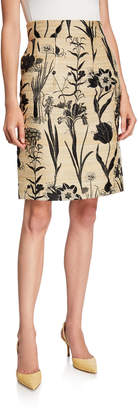 Oscar de la Renta High-Waist 2-Pocket Skirt