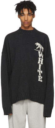 Off-White Off White Grey Panther Distressed Sweater
