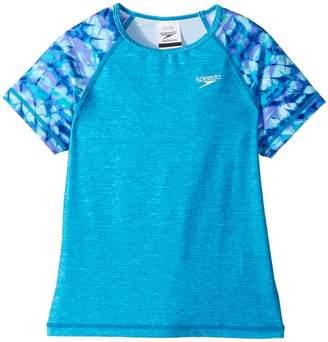 Speedo Kids Printed Short Sleeve Rashguard Girl's Swimwear