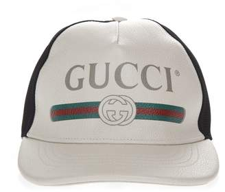 45345ec278300 Gucci White And Black Baseball Leather And Mesh Hat With Logo