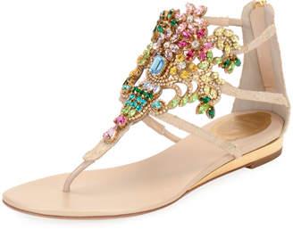 Rene Caovilla Embellished Lace Leather Sandal