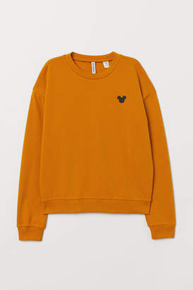 H&M Sweatshirt with Embroidery - Yellow