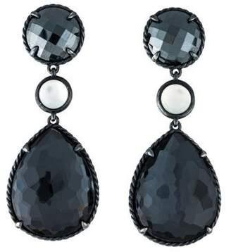 David Yurman Mother of Pearl, Hematine & Quartz Grisaille Triple Drop Earrings
