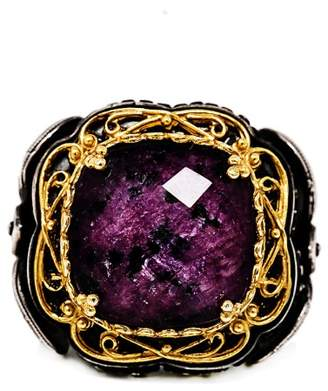 Demitrios Exclusive 925 Sterling Silver Gold Plated Art Deco Purple Stone Ring Size 7.5