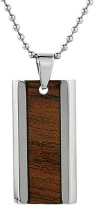 JCPenney FINE JEWELRY Mens Stainless Steel & Wood Dog Tag Pendant Necklace