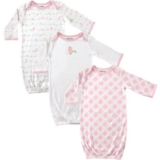 Luvable Friends Baby Girl Gowns with Mitten Cuffs, 3-Pack