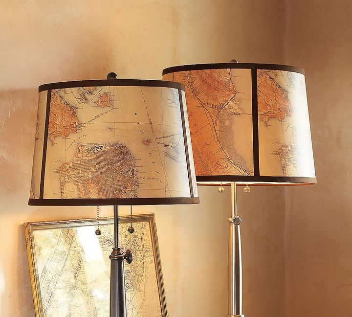 Map Drum Lamp Shade