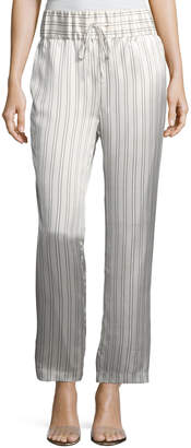 Neiman Marcus Maggie Marilyn Silk Somewhere Striped Drawstring Pants