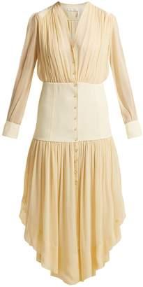 Chloé Asymmetric-hem mousseline dress
