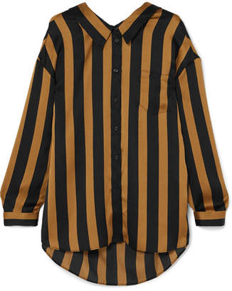 By Malene Birger Nipella Striped Satin Blouse - Black
