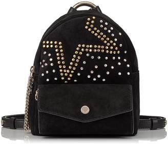 Jimmy Choo CASSIE/S Black Suede Backpack with Studded Degrade Star Detailing