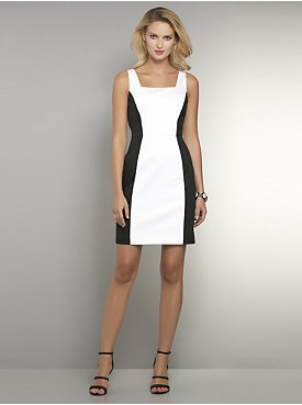 New York & Co. Black & White Colorblock Sheath Dress