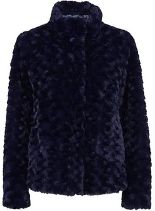 Womens Navy Midnight Swirl Faux Fur Coat