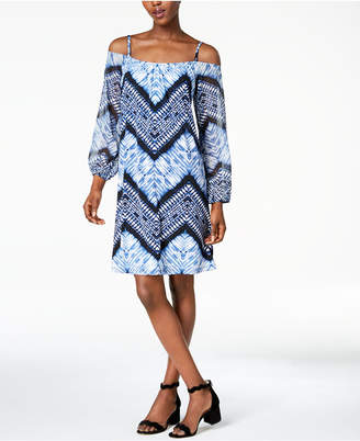INC International Concepts I.N.C. Printed Cold Shoulder Peasant Dress, Created for Macy's