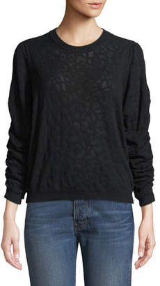 Joie Itana Leopard Jacquard Pullover Sweater