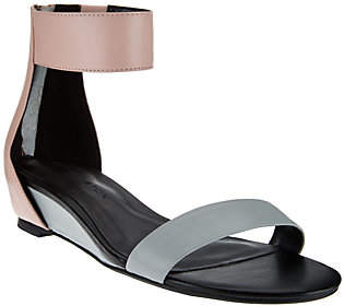 Halston H by Leather Sandal w/ Hidden Wedge -Bethany