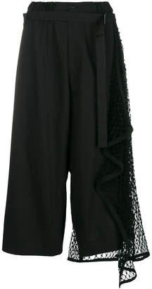 Yohji Yamamoto mesh panel wide-leg trousers