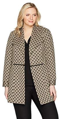 Kasper Women's Plus Size Ribbed Long Duster with Hardware Detail (2)