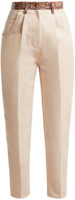 HILLIER BARTLEY Python-effect high-rise jeans