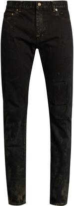 SAINT LAURENT Distressed skinny jeans $890 thestylecure.com