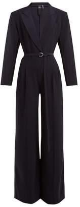 Norma Kamali Peak Lapel Belted Waist Crepe Jersey Jumpsuit - Womens - Navy