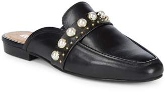 RENVY Embellished Leather Mules