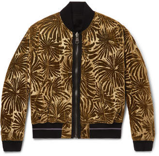 Haider Ackermann Reversible Dévore-Velvet And Cotton-Fleece Bomber Jacket