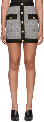 Balmain Black and White Houndstooth Miniskirt