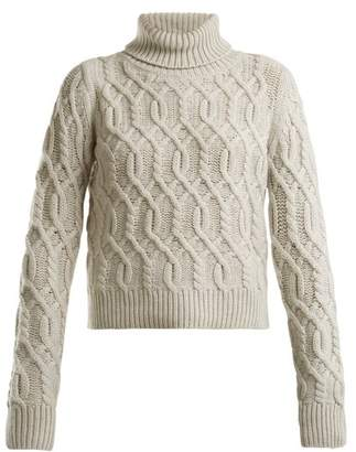 Nili Lotan Roll Neck Cable Knit Wool Cashmere Blend Sweater - Womens - Light Grey