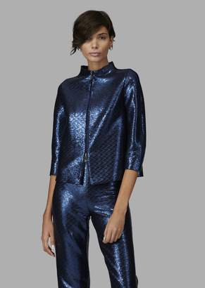 Giorgio Armani Zip Jacket Covered In Tone-On-Tone Sequins