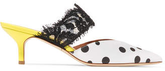 Malone Souliers by Roy Luwolt - Maisie Lace-trimmed Polka-dot Faille Mules - White