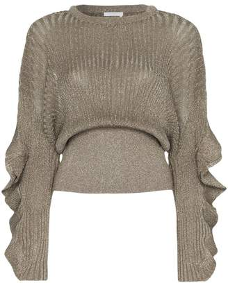 Chloé (クロエ) - Chloé frill sleeve lurex silk blend top