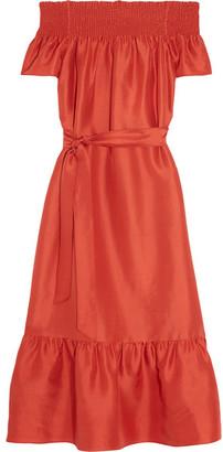 Tory Burch - Ramona Off-the-shoulder Slub Silk Midi Dress - Tomato red $395 thestylecure.com