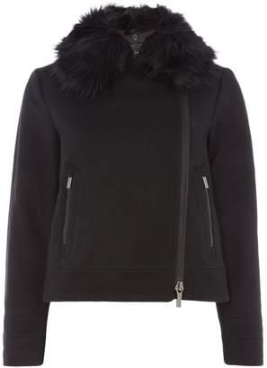Armani Exchange Faux Fur Trim Jacket in Black