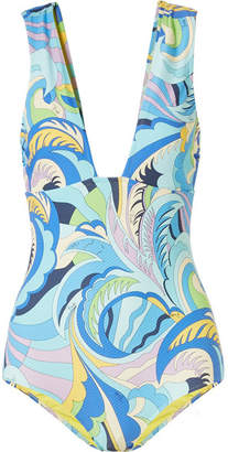 Emilio Pucci Printed Textured Swimsuit - Light blue