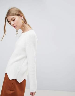 Selected Velva Scalloped Hem Wool Blend Sweater