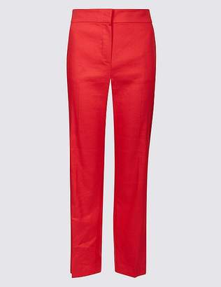 Marks and Spencer Linen Blend Ankle Grazer Straight Trousers