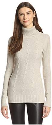 James & Erin Women's Cable Knit Turtleneck Sweater