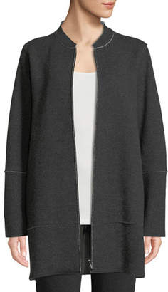 Eileen Fisher Felted Double-Knit Zip-Front Jacket