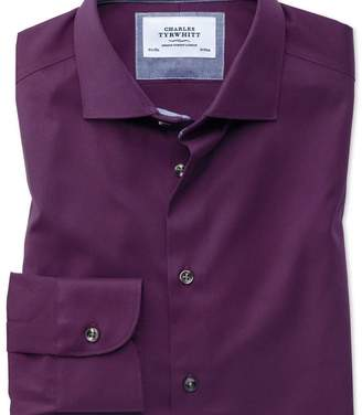 Charles Tyrwhitt Slim fit semi-cutaway business casual non-iron modern textures dark purple shirt