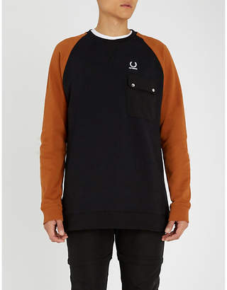 Fred Perry Contrast sleeve cotton-jersey sweatshirt