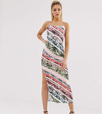 b19512771523 Flounce London satin midaxi slip dress in multi animal