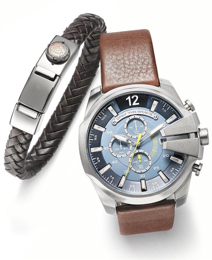 DieselDiesel Men's Chronograph Mega Chief Dark Brown Leather Strap Watch Set 51mm DZ4369