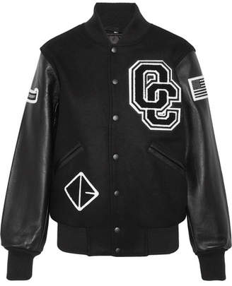 Opening Ceremony Appliquéd Wool-blend Twill And Textured-leather Bomber Jacket - Black