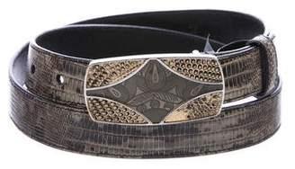 Prada Lizard Buckled Belt