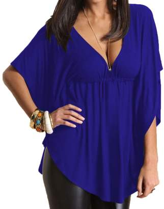 867343d87d Menglihua Womens Casual Sexy Plus Size Batwing Tunic Tops Short Sleeve  Loose Shirt